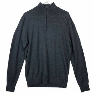 J Crew Slim Fit Sweater 1/4 Zip Pullover Gray L